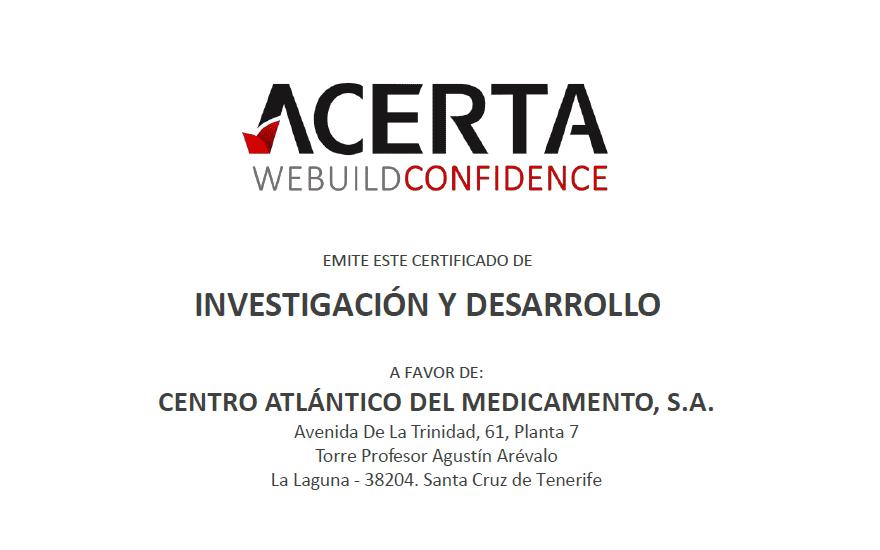 Certificado Investigación y Desarrollo